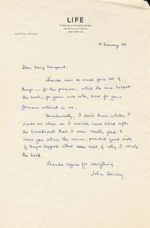 Image 1 for John Hersey - Autograph Letter Signed 2/16 - HFSID 250988