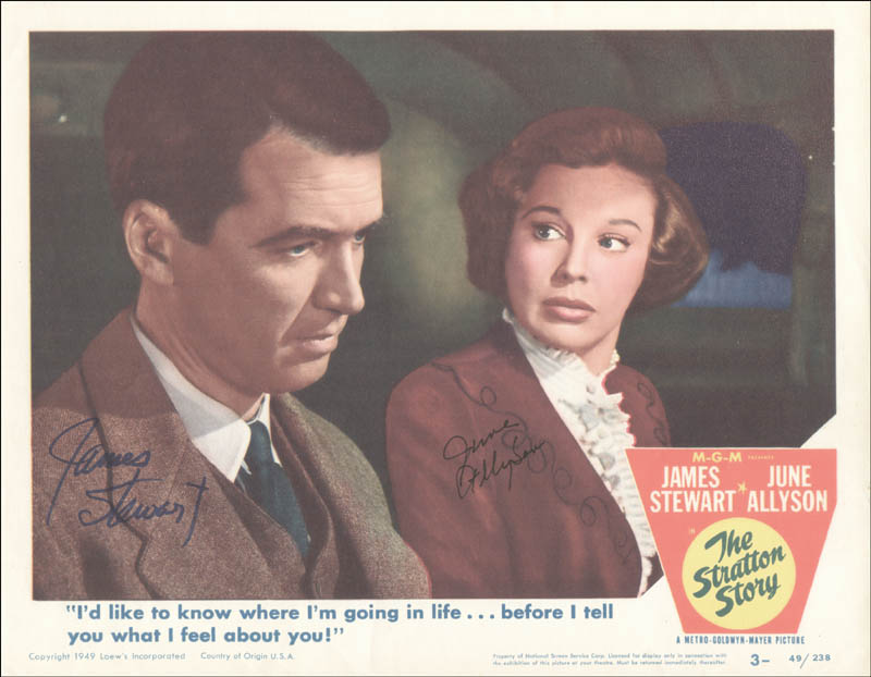 Image 1 for Stratton Story Movie Cast - Lobby Card Signed co-signed by: James 'Jimmy' Stewart, June Allyson - HFSID 251068