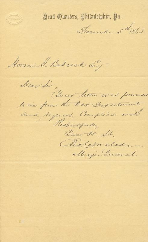 Image 1 for Major General George Cadwalader - Autograph Letter Signed 12/05/1863 - HFSID 251274