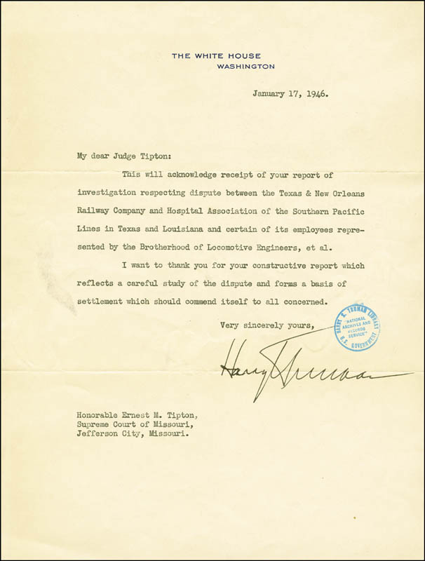Image 1 for President Harry S Truman - Typed Letter Signed 01/17/1946 - HFSID 251323