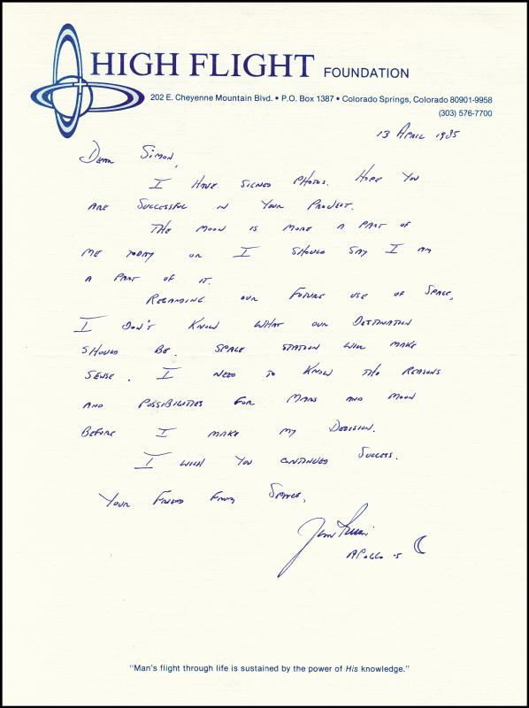Image 1 for Colonel James B. 'Jim' Irwin - Autograph Letter Signed 04/13/1985 - HFSID 251386