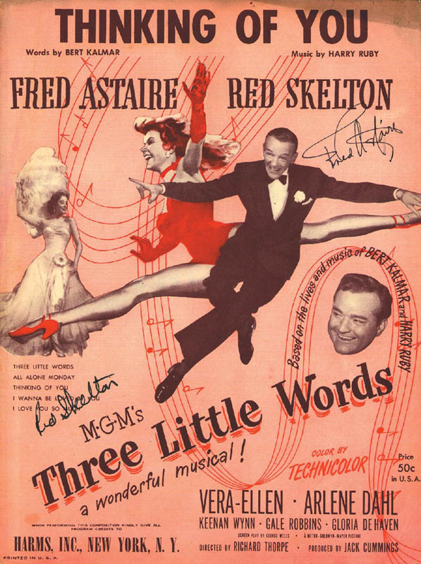 Image 1 for Three Little Words Movie Cast - Sheet Music Signed co-signed by: Fred Astaire, Red Skelton - HFSID 251465