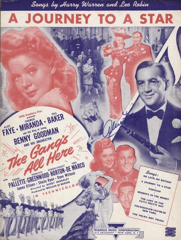 Image 1 for Alice Faye - Sheet Music Signed - HFSID 251602