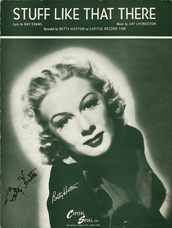 Image 1 for Betty Hutton - Sheet Music Signed - HFSID 251603