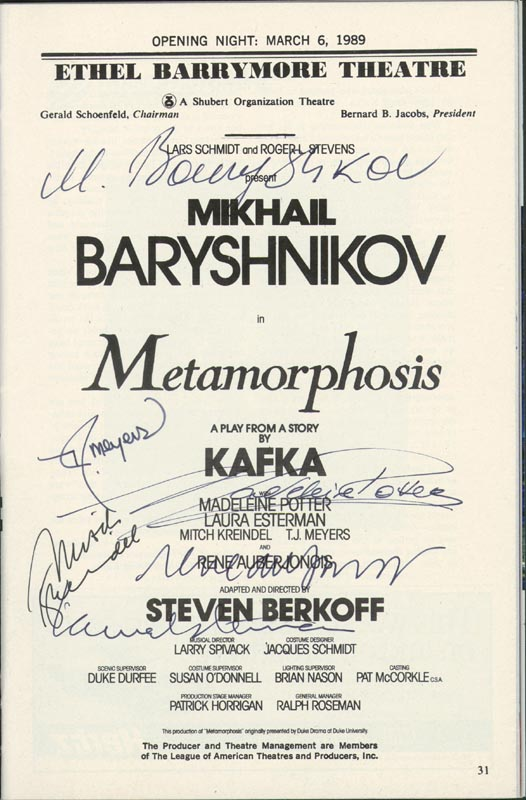 Image 1 for Metamorphosis Broadway Cast - Show Bill Signed Circa 1989 with co-signers - HFSID 251607