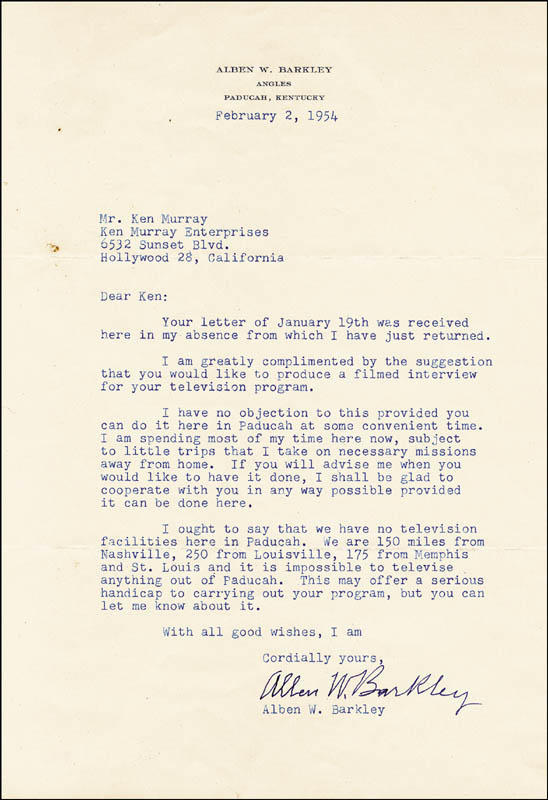 Image 1 for Vice President Alben W. Barkley - Typed Letter Signed 02/02/1954 - HFSID 251694