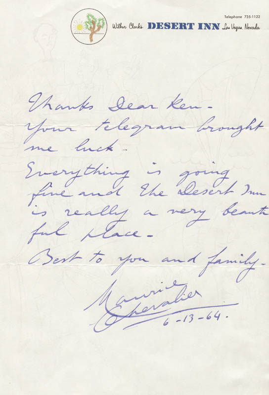 Image 1 for Maurice Chevalier - Autograph Letter Signed 06/13/1964 - HFSID 251704