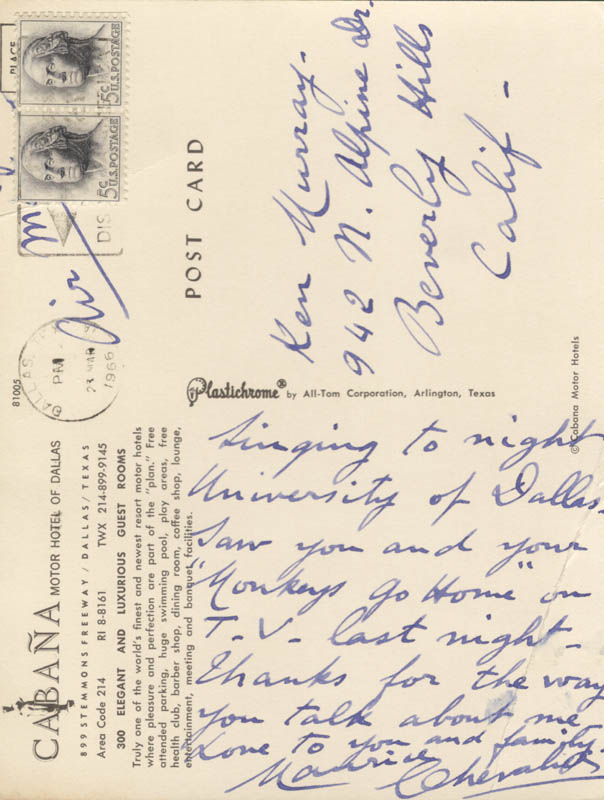 Image 1 for Maurice Chevalier - Autograph Letter Signed 1966 - HFSID 251706