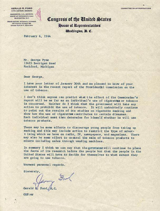 Image 1 for President Gerald R. Ford - Typed Letter Signed 02/06/1964 - HFSID 251781