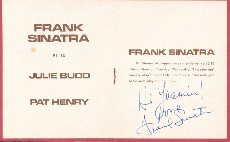 Image 1 for Frank Sinatra - Inscribed Program Signed - HFSID 251842