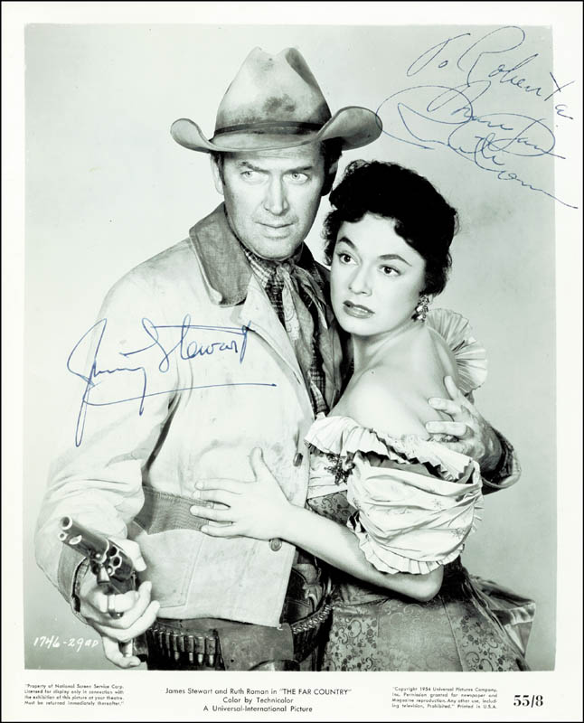 Image 1 for The Far Country - Autographed Inscribed Photograph co-signed by: James 'Jimmy' Stewart, Ruth Roman - HFSID 251933