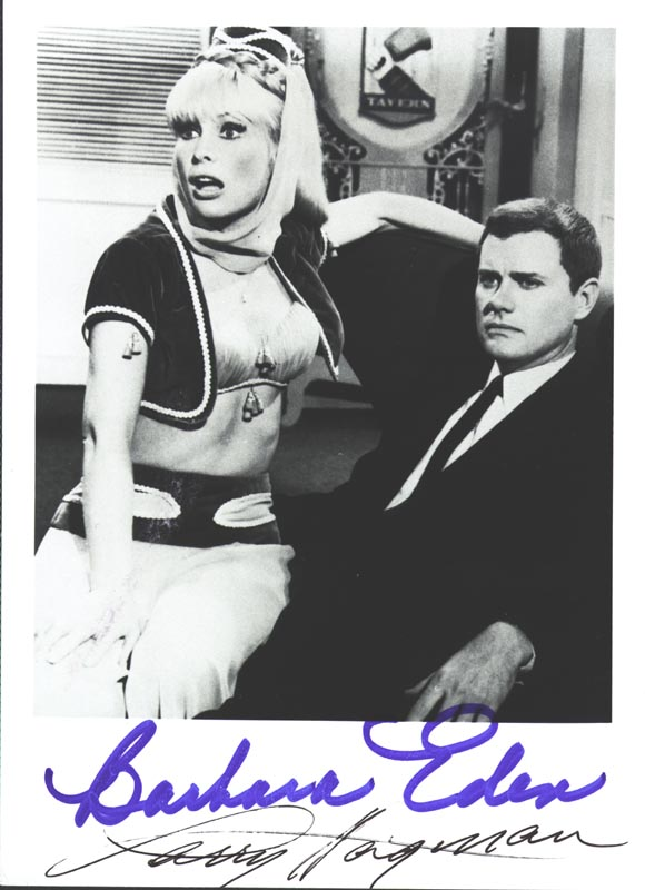 Image 1 for I Dream Of Jeannie TV Cast - Autographed Signed Photograph co-signed by: Barbara Eden, Larry Hagman - HFSID 251977