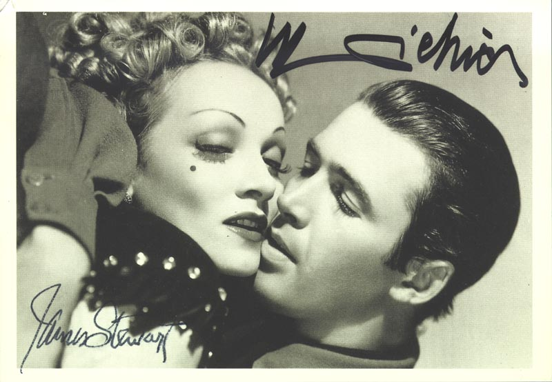 Image 1 for Destry Rides Again Movie Cast - Autographed Signed Photograph co-signed by: Marlene Dietrich, James 'Jimmy' Stewart - HFSID 252050