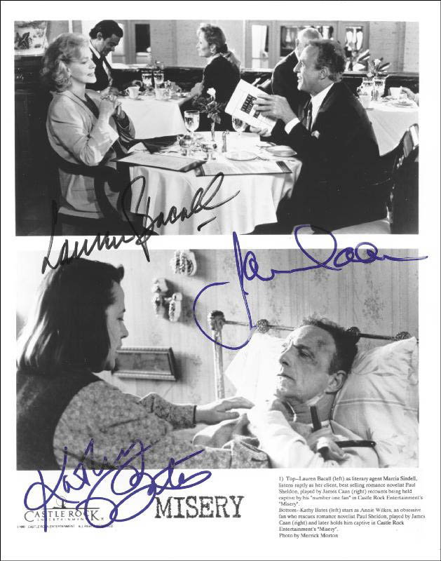 Image 1 for Misery Movie Cast - Autographed Signed Photograph co-signed by: Kathy Bates, Lauren Bacall, James Caan - HFSID 252064