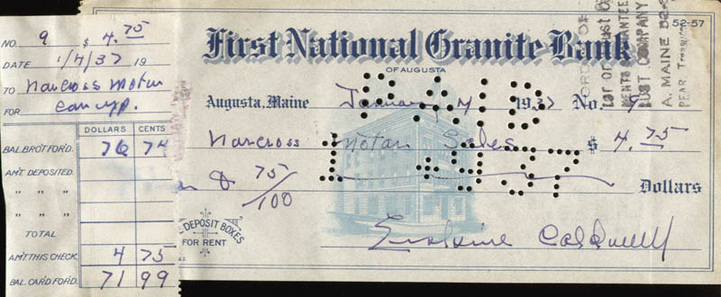 Image 1 for Erskine Caldwell - Autographed Signed Check 01/07/1937 - HFSID 252221