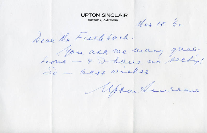 Image 1 for Upton Sinclair - Autograph Letter Signed 03/18/1962 - HFSID 252448