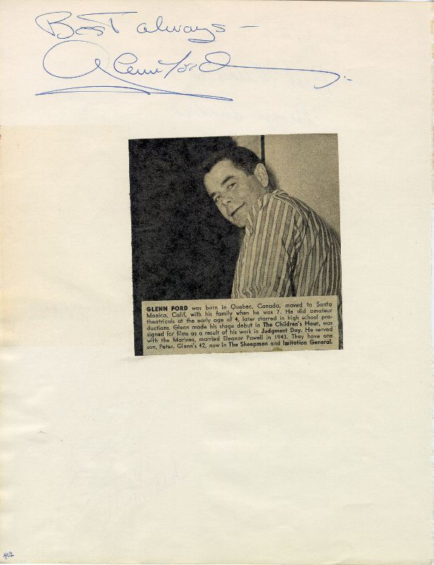 Image 1 for Glenn Ford - Autograph Sentiment Signed co-signed by: The Dominoes (Billy Ward) - HFSID 25245