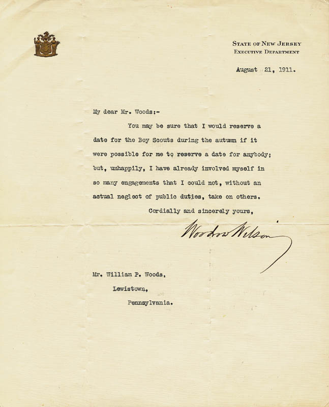 Image 1 for President Woodrow Wilson - Typed Letter Signed 08/21/1911 - HFSID 252450