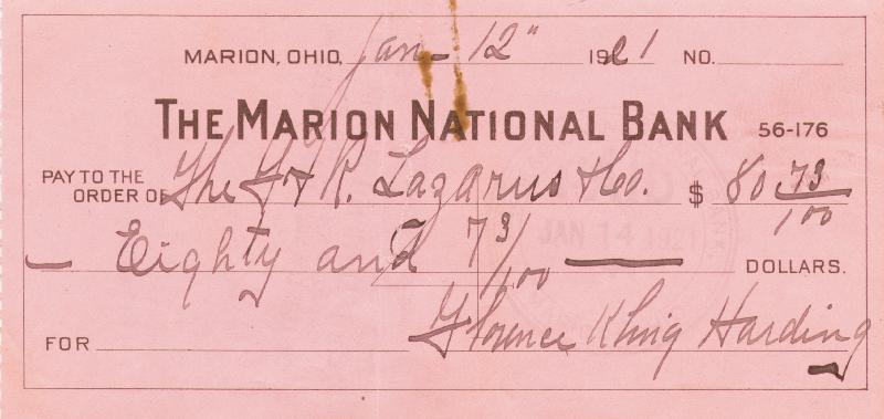 Image 1 for First Lady Florence K. Harding - Autographed Signed Check 01/12/1921 - HFSID 252456