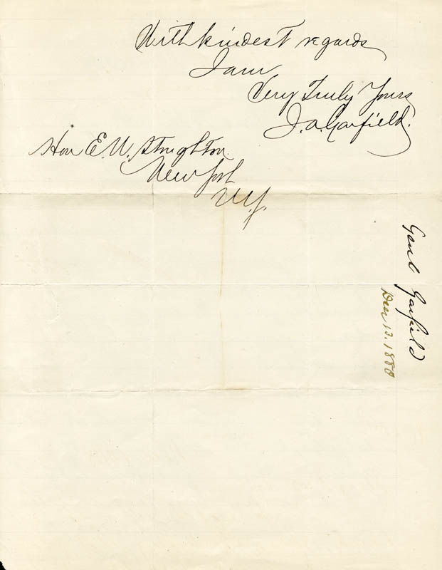 Image 1 for President James A. Garfield - Autograph Letter Signed 12/13/1880 - HFSID 252457