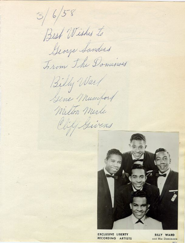 Image 3 for Glenn Ford - Autograph Sentiment Signed co-signed by: The Dominoes (Billy Ward) - HFSID 25245