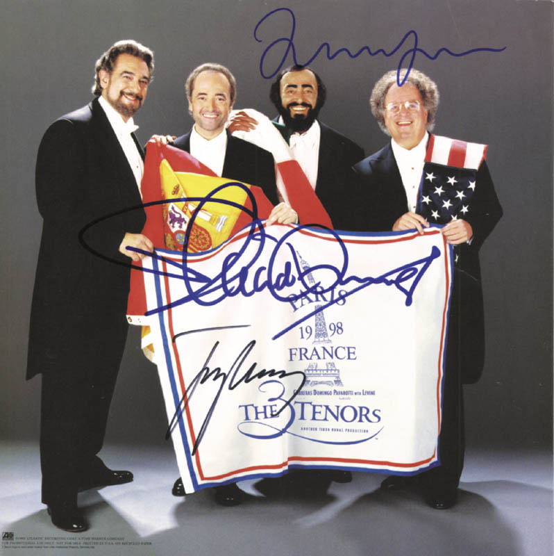 Image 1 for The Three Tenors - Autographed Signed Poster Circa 1998 co-signed by: Placido Domingo, Jose Carreras, Luciano Pavarotti - HFSID 252501
