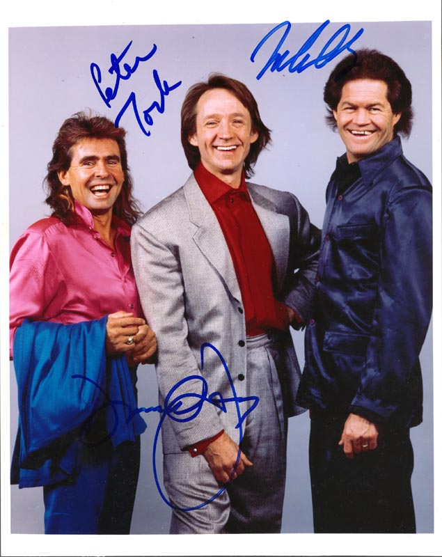 Image 1 for The Monkees - Autographed Signed Photograph co-signed by: The Monkees (Davy Jones), The Monkees (Mickey Dolenz), The Monkees (Peter Tork) - HFSID 252582