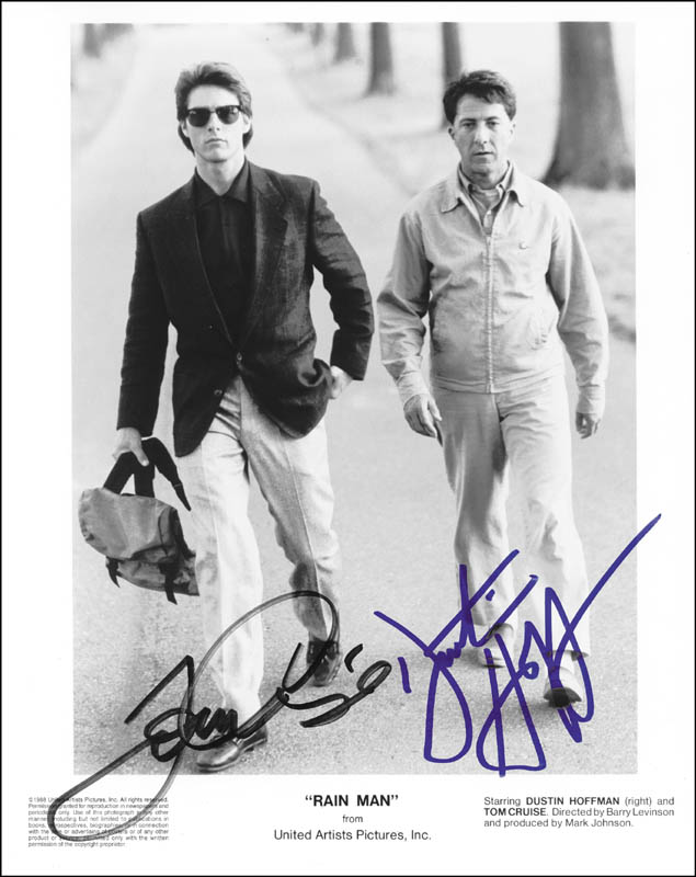 Image 1 for Rain Man Movie Cast - Printed Photograph Signed In Ink co-signed by: Tom Cruise, Dustin Hoffman - HFSID 252704