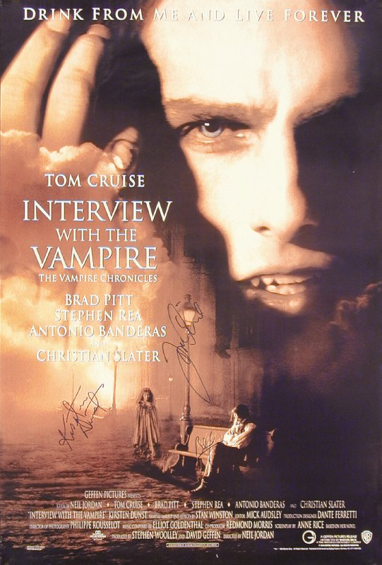 Image 3 for Interview With The Vampire Movie Cast - Autographed Signed Poster Circa 1994 co-signed by: Tom Cruise, Brad Pitt, Kirsten Dunst - HFSID 252819