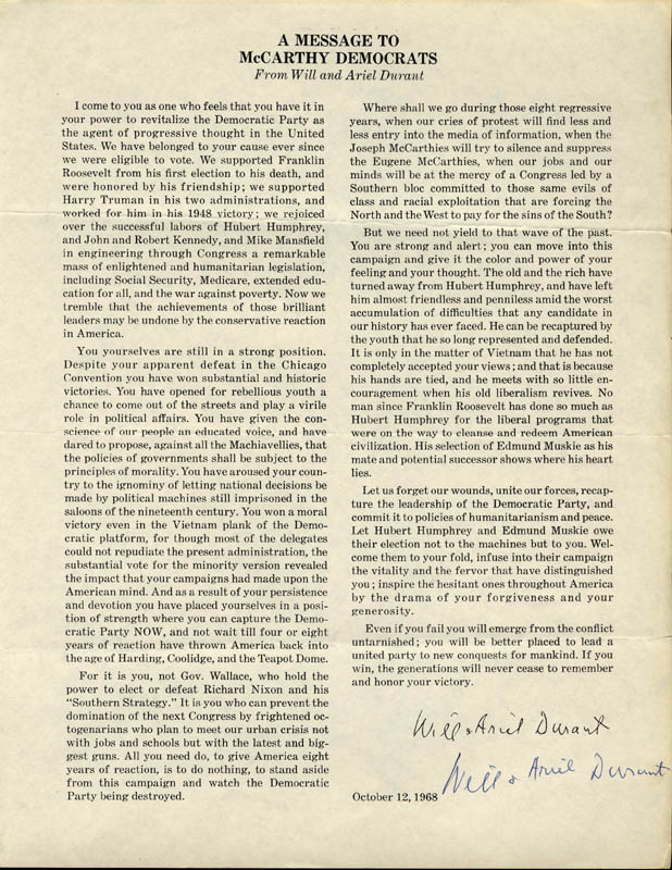 Image 1 for Will Durant - Article Signed Circa 1968 co-signed by: Ariel Durant - HFSID 252942
