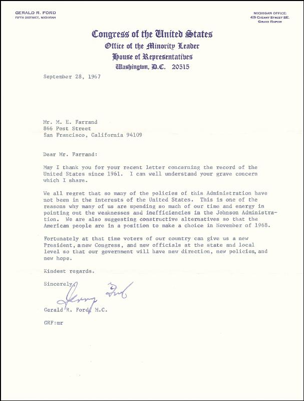 Image 1 for President Gerald R. Ford - Typed Letter Signed 09/28/1967 - HFSID 253021