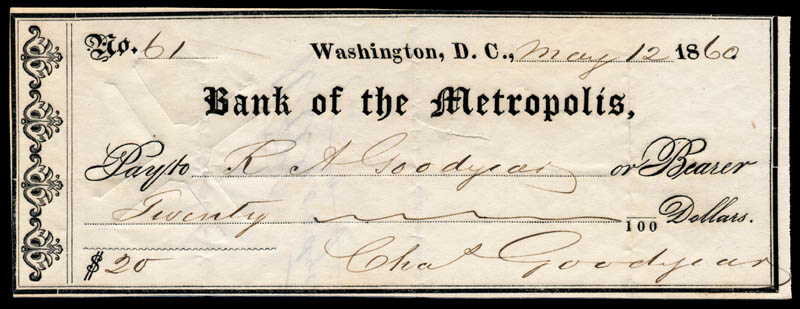 Image 1 for Charles Goodyear - Autographed Signed Check 05/12/1860 - HFSID 253060