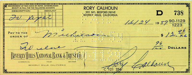 Image 1 for Rory Calhoun - Autographed Signed Check 12/24/1959 - HFSID 253137