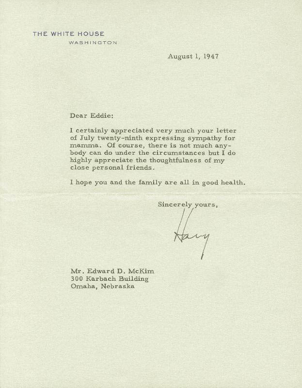 Image 1 for President Harry S Truman - Typed Letter Signed 08/01/1947 - HFSID 253278