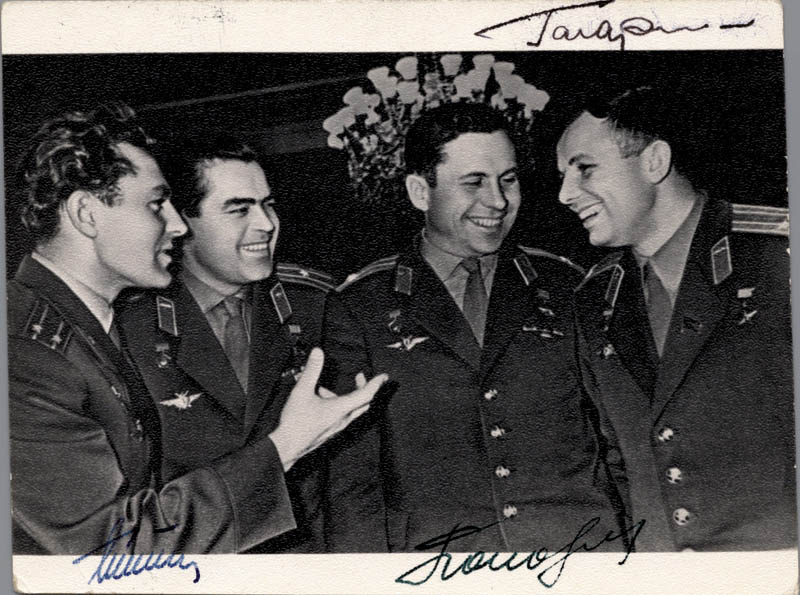 Image 1 for Colonel Yuri Gagarin - Autographed Signed Photograph co-signed by: Major General Pavel Popovich, General Gherman Titov - HFSID 253422