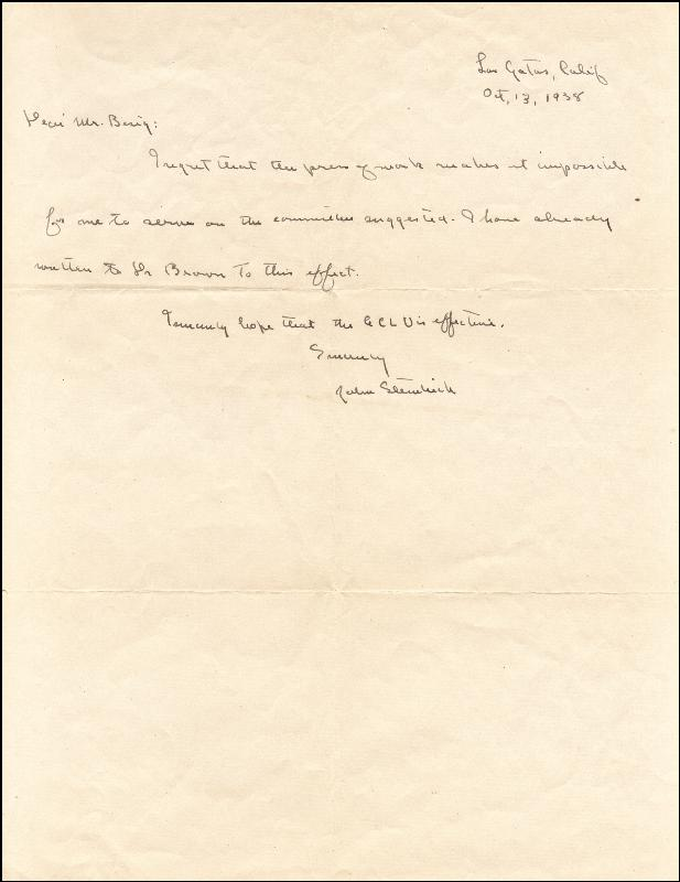 Image 1 for John Steinbeck - Autograph Letter Signed 10/13/1938 - HFSID 253471