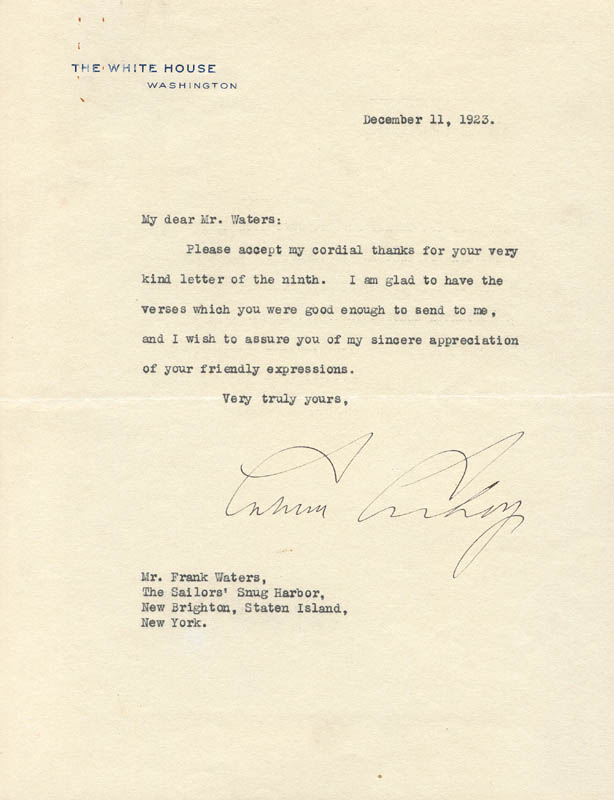 Image 1 for President Calvin Coolidge - Typed Letter Signed 12/11/1923 - HFSID 253498