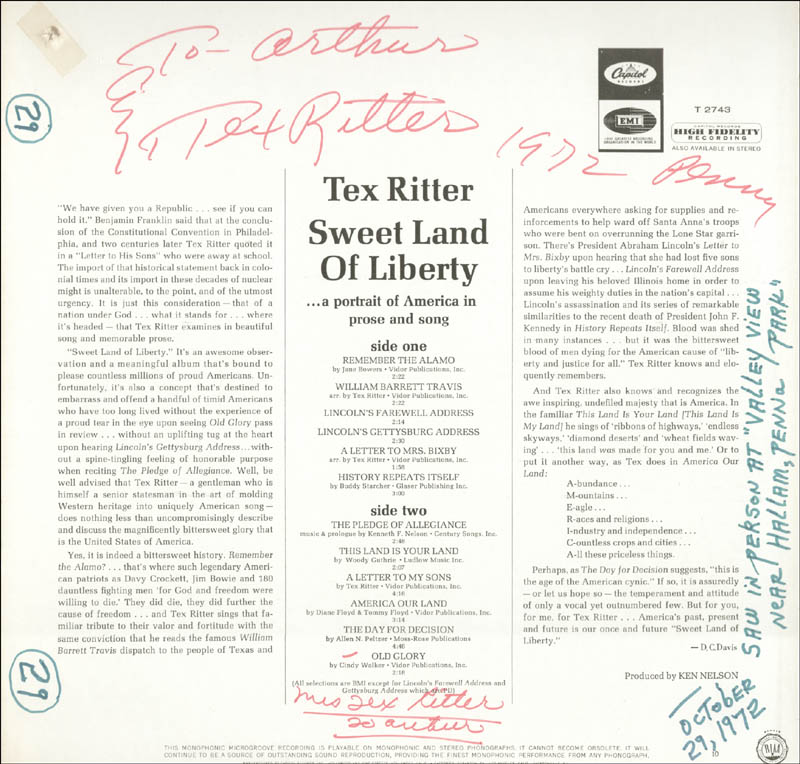 Image 3 for Tex Ritter - Inscribed Record Album Cover Signed 1972 co-signed by: Dorothy Fay - HFSID 253539