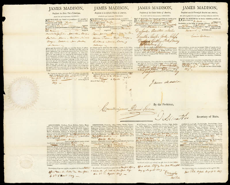 Image 3 for President James Madison - Four Language Ships Papers Signed 08/18/1809 co-signed by: Robert Smith (Politician) - HFSID 253553