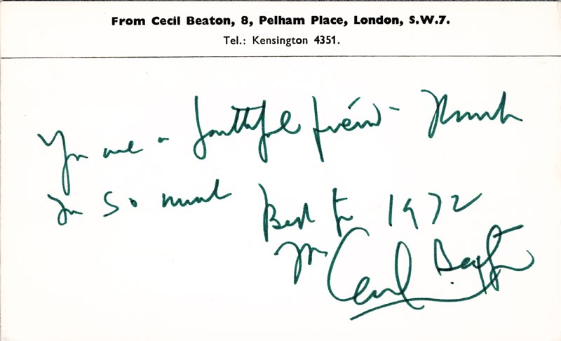 Image 1 for Sir Cecil W. Beaton - Autograph Note Signed 1972 - HFSID 253700