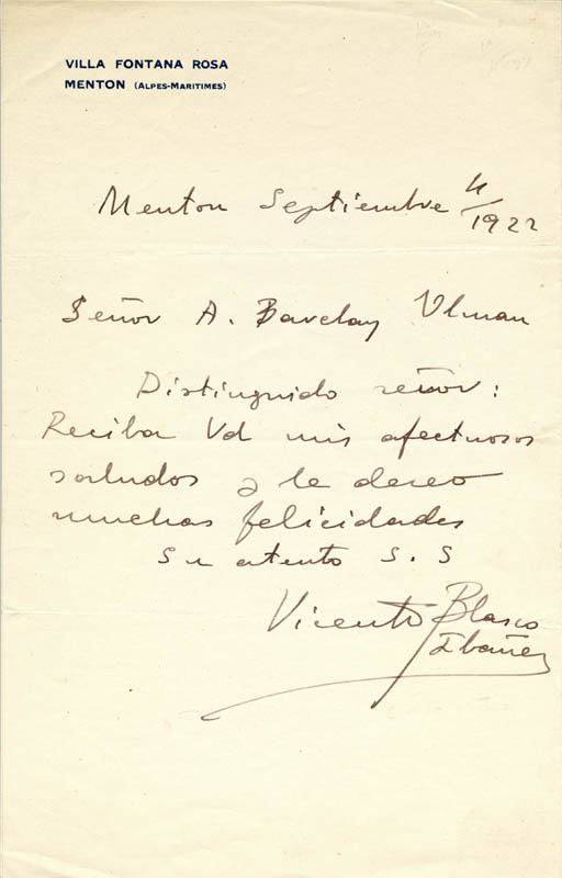 Image 1 for Vicente Blasco-ibanez - Autograph Letter Signed 09/06/1922 - HFSID 253701