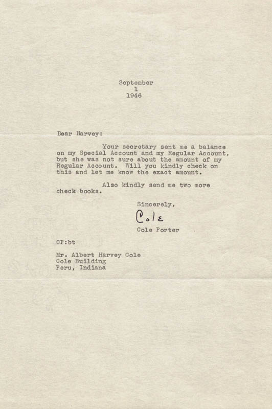 Image 1 for Cole Porter - Typed Letter Signed 09/01/1946 - HFSID 253717