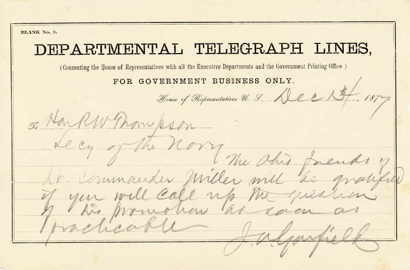 Image 1 for President James A. Garfield - Autograph Telegram Signed 12/14/1877 - HFSID 253873
