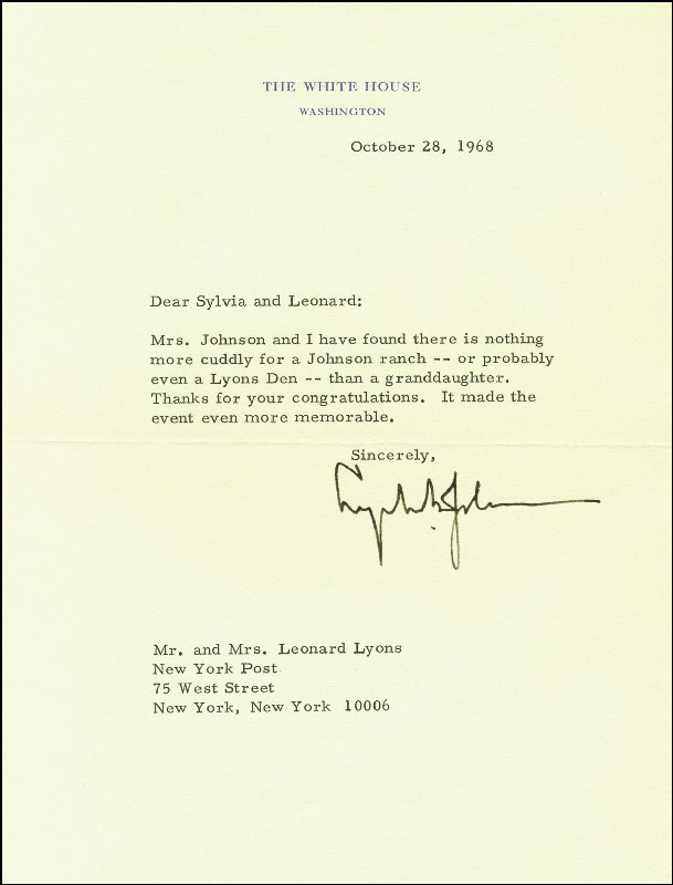 Image 1 for President Lyndon B. Johnson - Typed Letter Signed 10/28/1968 - HFSID 253874