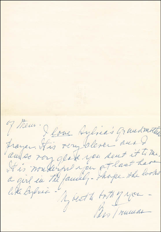 Image 1 for First Lady Bess W. Truman - Autograph Letter Signed Circa 1967 - HFSID 253881