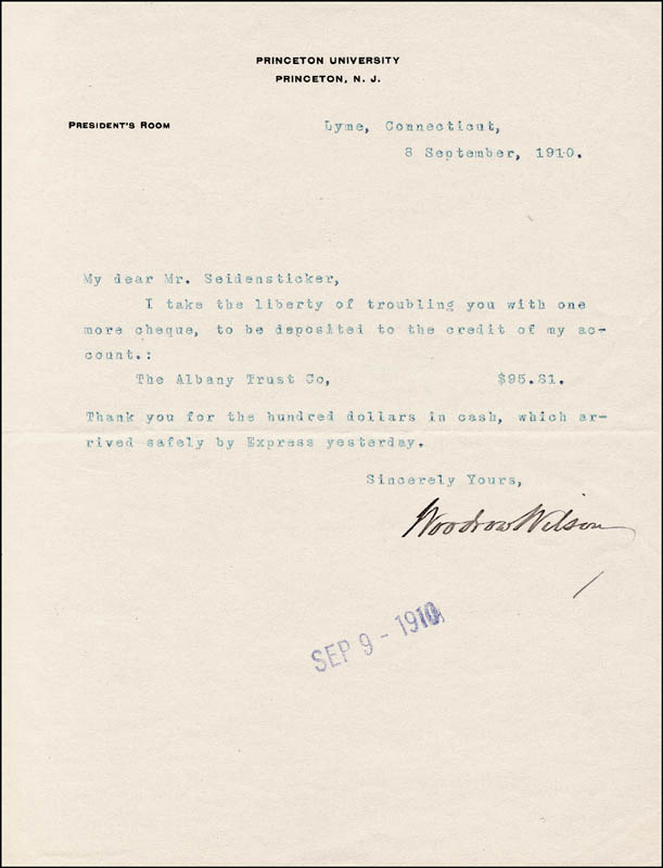 Image 1 for President Woodrow Wilson - Typed Letter Signed 09/08/1910 - HFSID 253897