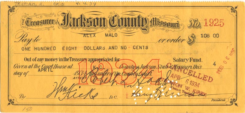 Image 1 for President Harry S Truman - Autographed Signed Check 04/04/1934 co-signed by: William Hicks, Robert L. Hood - HFSID 253900