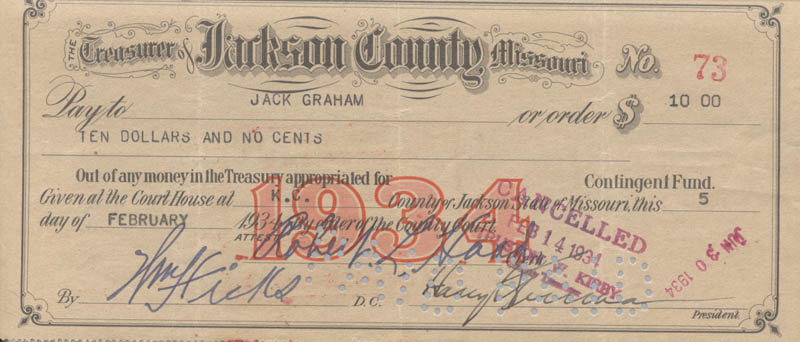 Image 1 for President Harry S Truman - Autographed Signed Check 02/05/1934 co-signed by: William Hicks, Robert L. Hood - HFSID 253901