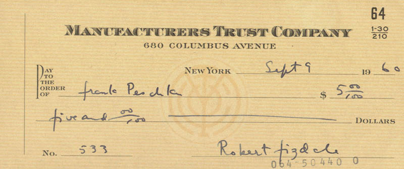 Image 1 for Robert Fizdale - Autographed Signed Check 09/09/1960 - HFSID 253980
