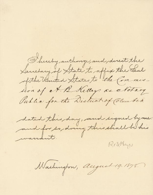 Image 1 for President Rutherford B. Hayes - Presidential Warrant Signed 08/19/1878 - HFSID 253997